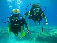 Children diving education in Bol, Croatia